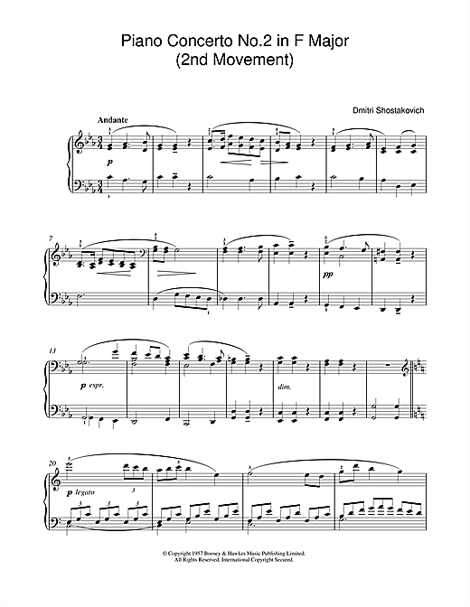 Dmitri Shostakovich 'Piano Concerto No  2 in F Major (2nd Movement)' Sheet  Music Notes, Chords | Download Printable Piano Solo - SKU: 46605