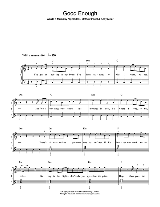Dodgy Good Enough sheet music notes and chords. Download Printable PDF.