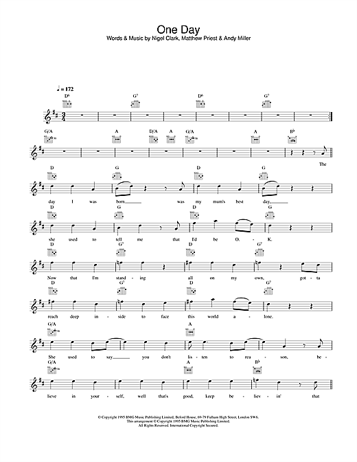 Dodgy One Day sheet music notes and chords. Download Printable PDF.