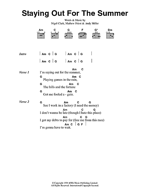 Dodgy Staying Out For The Summer sheet music notes and chords. Download Printable PDF.