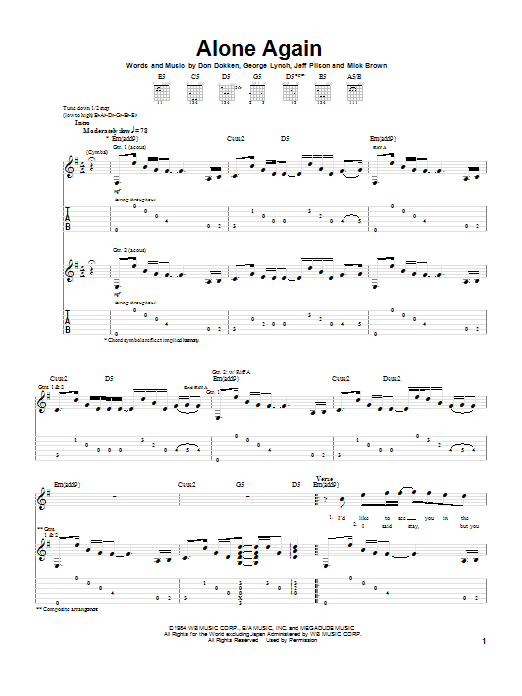 Dokken Alone Again sheet music notes and chords. Download Printable PDF.