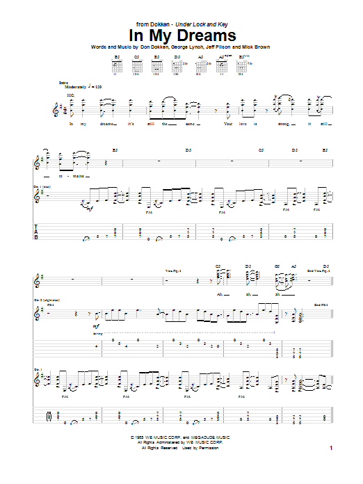 Dokken In My Dreams sheet music notes and chords. Download Printable PDF.