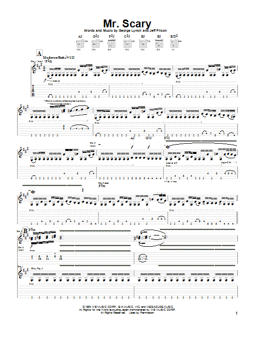 Dokken Mr. Scary sheet music notes and chords. Download Printable PDF.