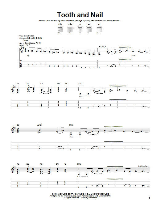 Dokken Tooth And Nail sheet music notes and chords. Download Printable PDF.