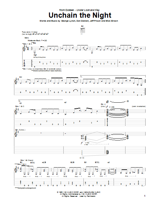 Dokken Unchain The Night sheet music notes and chords. Download Printable PDF.