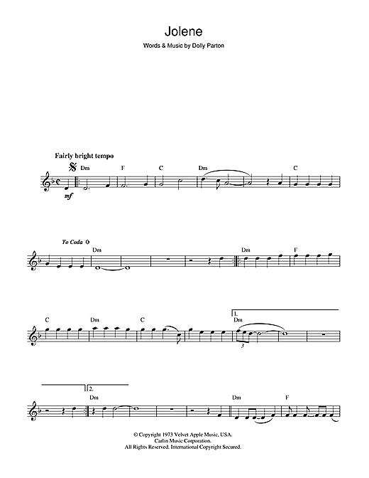 Dolly Parton Jolene sheet music notes and chords
