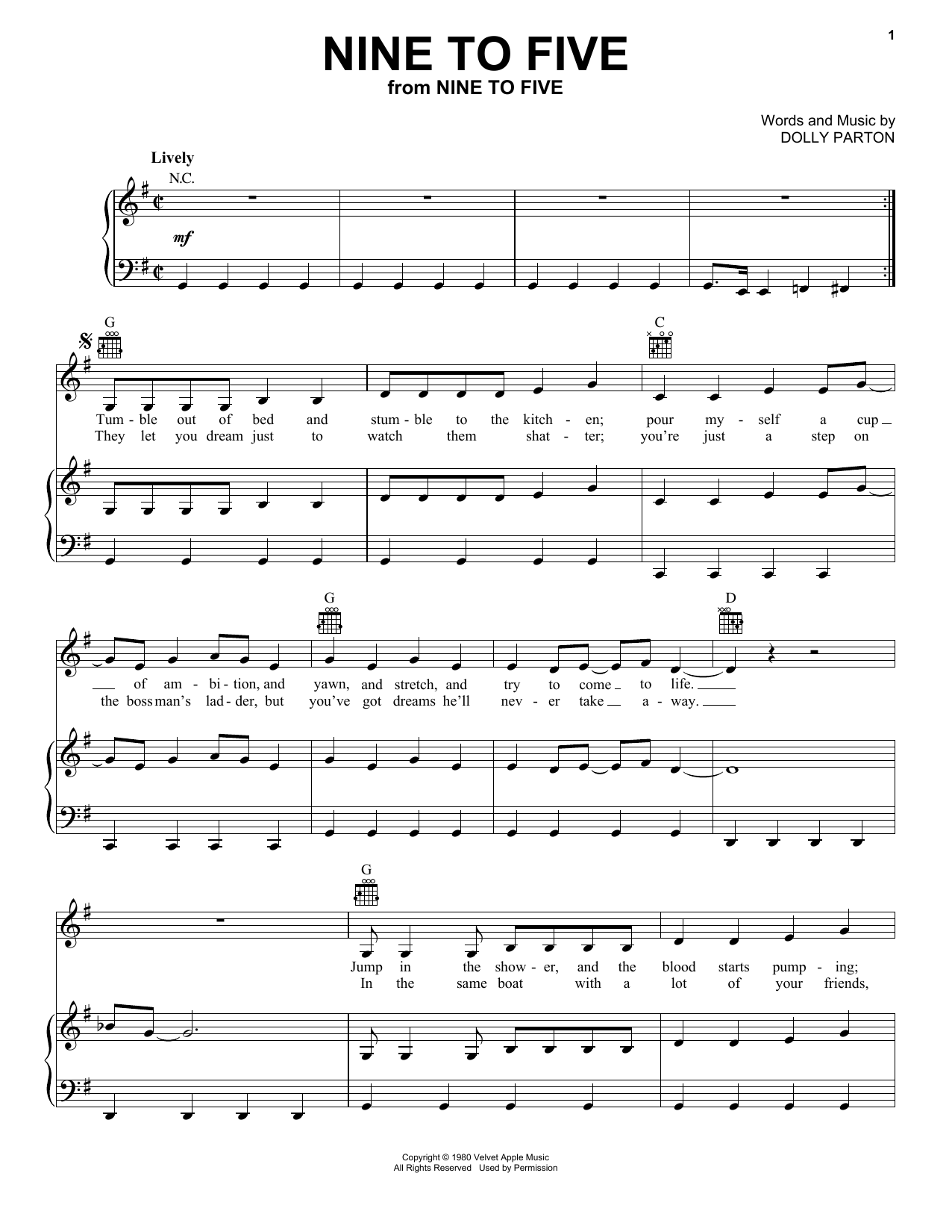 Dolly Parton Nine To Five sheet music notes and chords. Download Printable PDF.