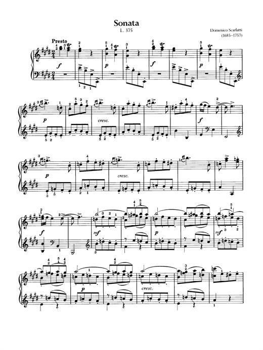 Domenico Scarlatti Sonata, L. 375 sheet music notes and chords