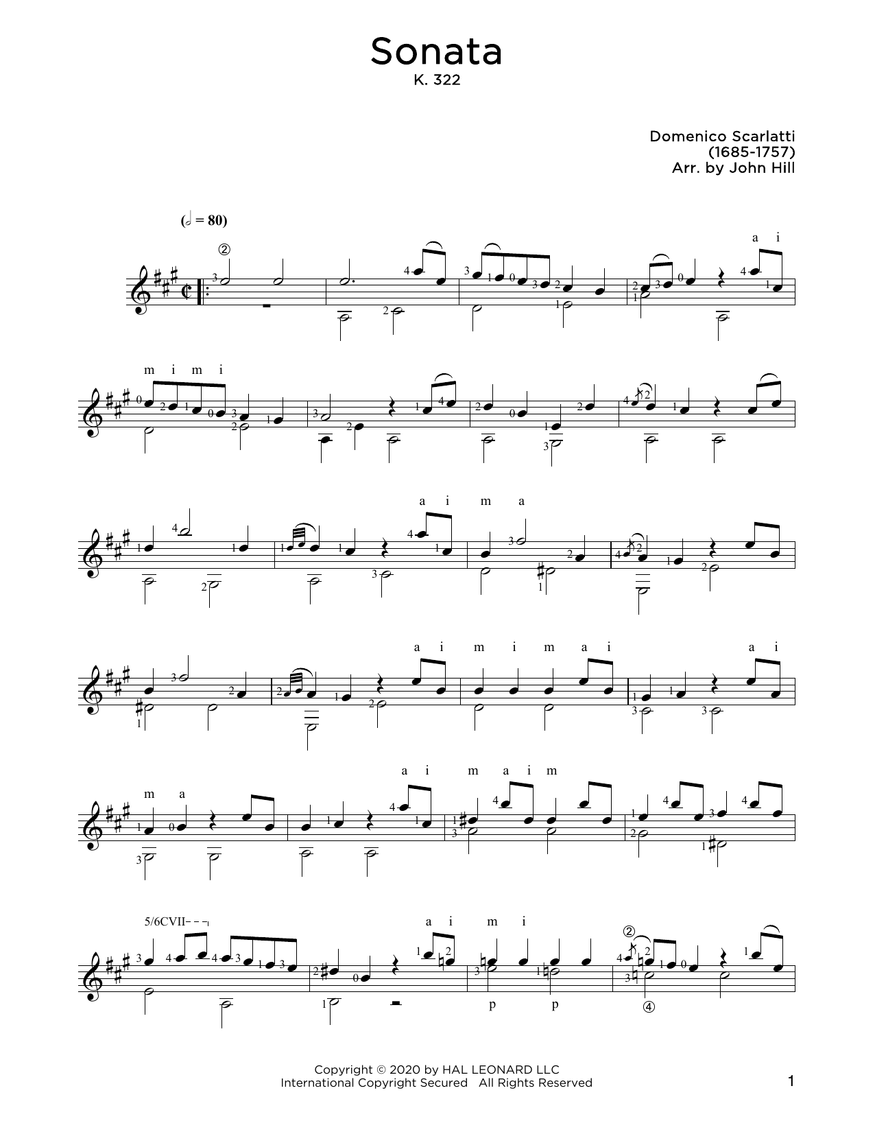 Domenico Scarlatti Sonata In A sheet music notes and chords. Download Printable PDF.