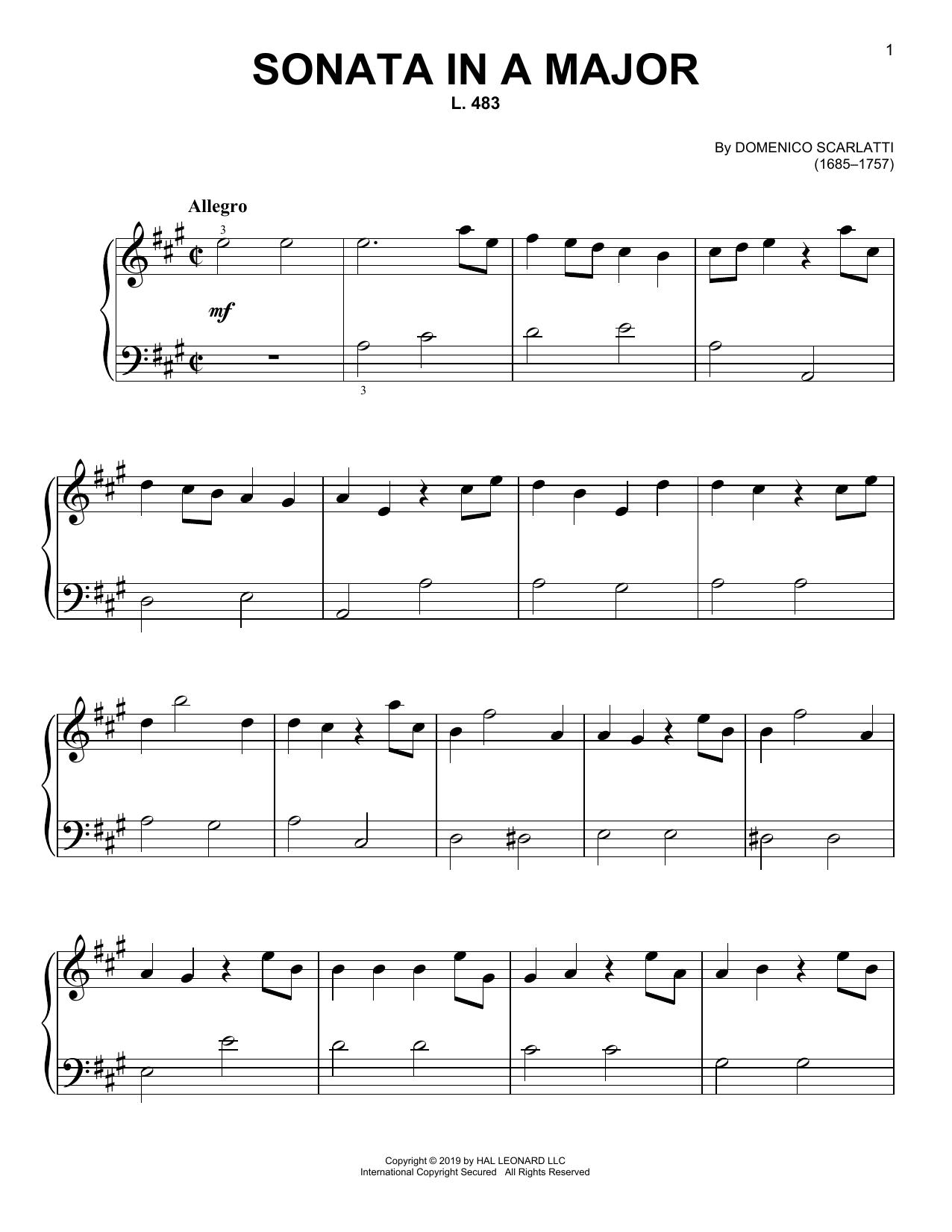 Domenico Scarlatti Sonata In A Major, L. 483 sheet music notes and chords