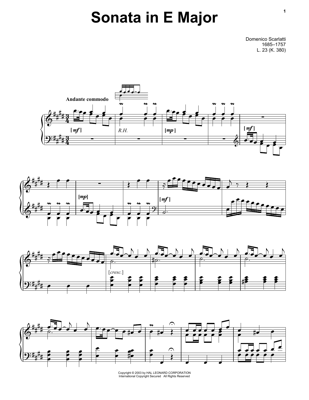 Domenico Scarlatti Sonata In E Major, L. 23 sheet music notes and chords. Download Printable PDF.