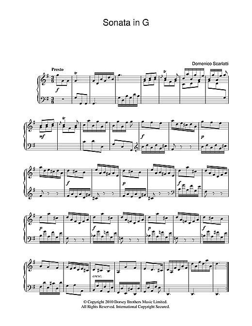 Domenico Scarlatti Sonata In G Major sheet music notes and chords. Download Printable PDF.