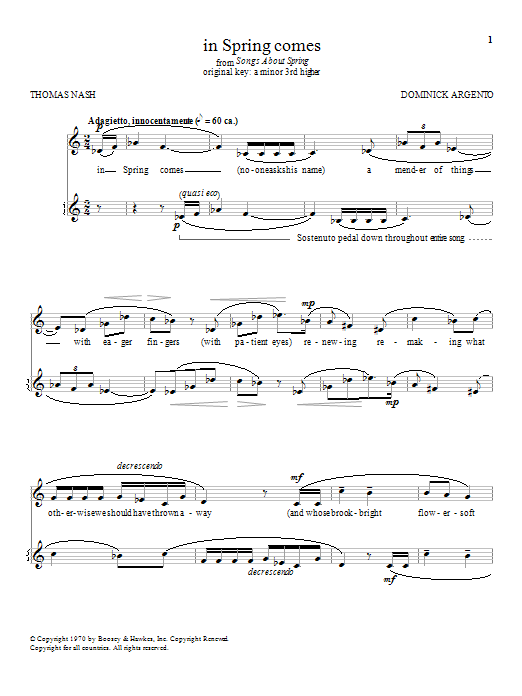 Dominick Argento in Spring comes sheet music notes and chords. Download Printable PDF.