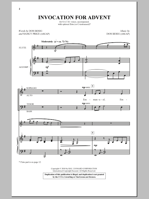 Don Besig Invocation For Advent sheet music notes and chords. Download Printable PDF.