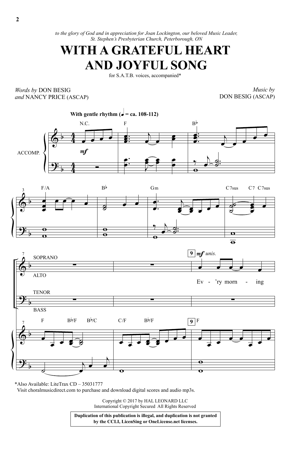 Don Besig With A Grateful Heart And Joyful Song sheet music notes and chords. Download Printable PDF.