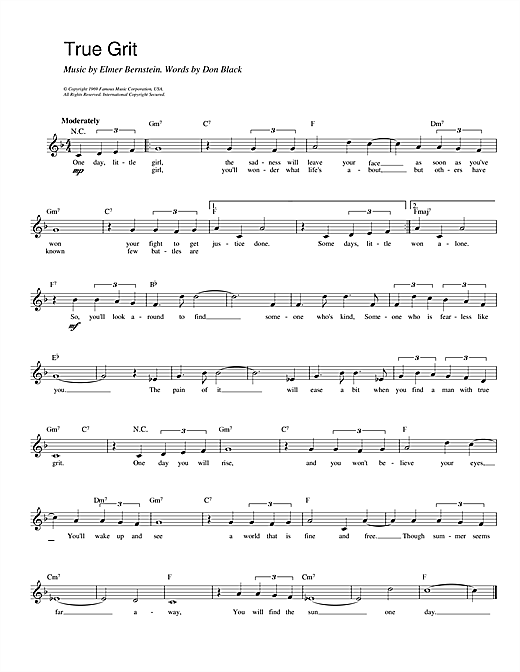 Don Black and Elmer Bernstein True Grit sheet music notes and chords. Download Printable PDF.