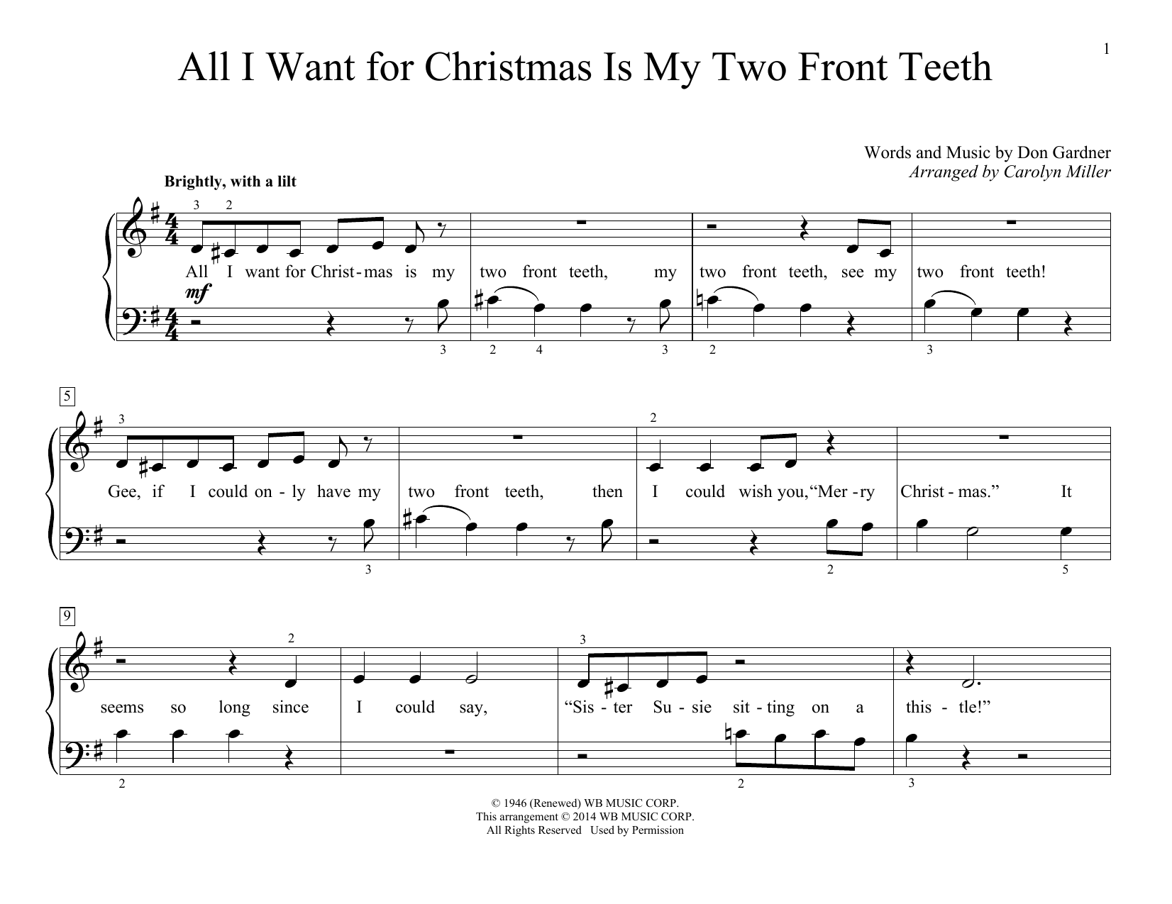 Carolyn Miller All I Want For Christmas Is My Two Front Teeth sheet music notes and chords. Download Printable PDF.