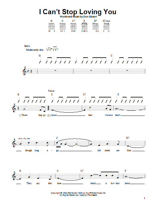 Don Gibson I Can't Stop Loving You sheet music notes and chords. Download Printable PDF.