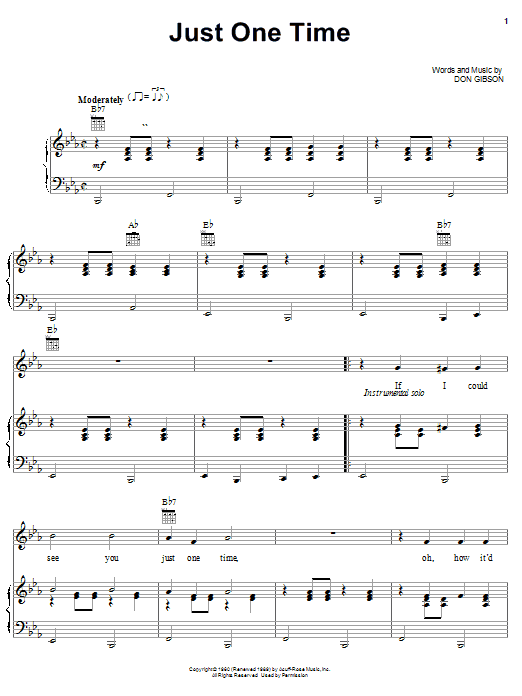 Don Gibson Just One Time sheet music notes and chords. Download Printable PDF.