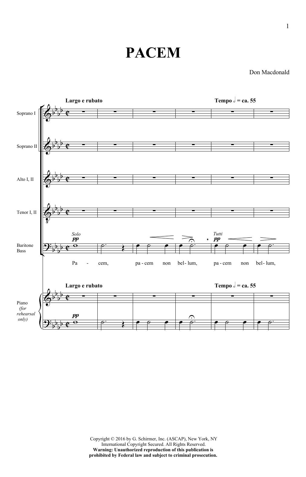Don Macdonald Pacem sheet music notes and chords. Download Printable PDF.