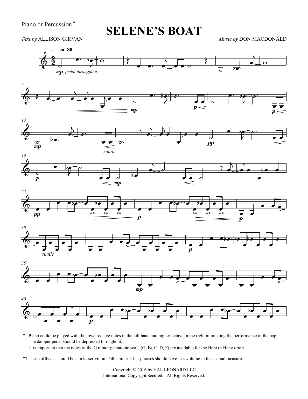 Don MacDonald Selene's Boat - Percussion sheet music notes and chords. Download Printable PDF.