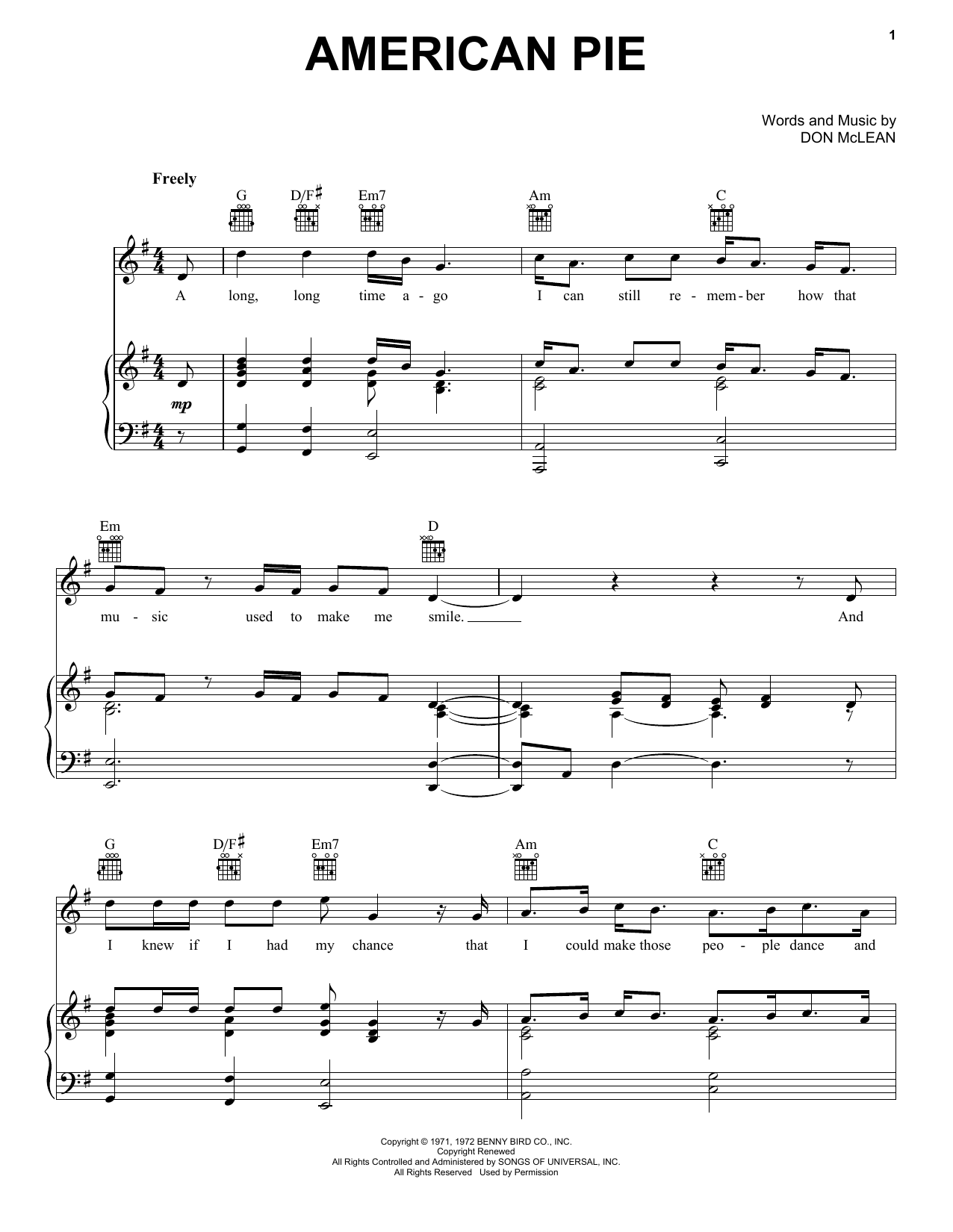 Don McLean American Pie sheet music notes and chords. Download Printable PDF.