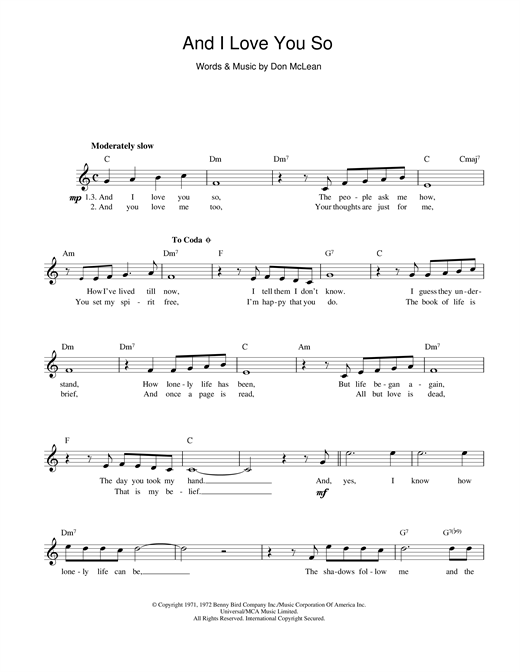 Don McLean And I Love You So sheet music notes and chords