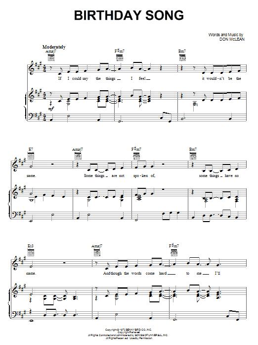 Don Mclean Birthday Song Sheet Music Pdf Notes Chords Folk Score Piano Vocal Guitar Right Hand Melody Download Printable Sku 67729