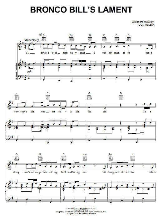 Don McLean Bronco Bill's Lament sheet music notes and chords. Download Printable PDF.