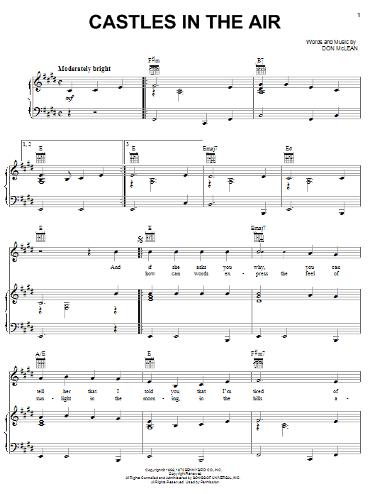 Don McLean Castles In The Air sheet music notes and chords. Download Printable PDF.
