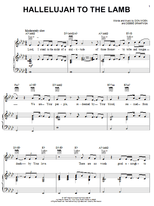 Don Moen Hallelujah To The Lamb sheet music notes and chords. Download Printable PDF.