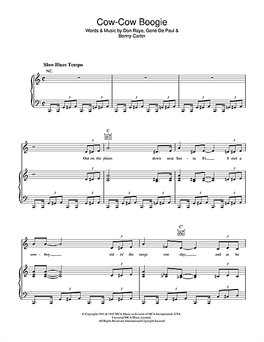 Don Raye Cow-Cow Boogie sheet music notes and chords. Download Printable PDF.