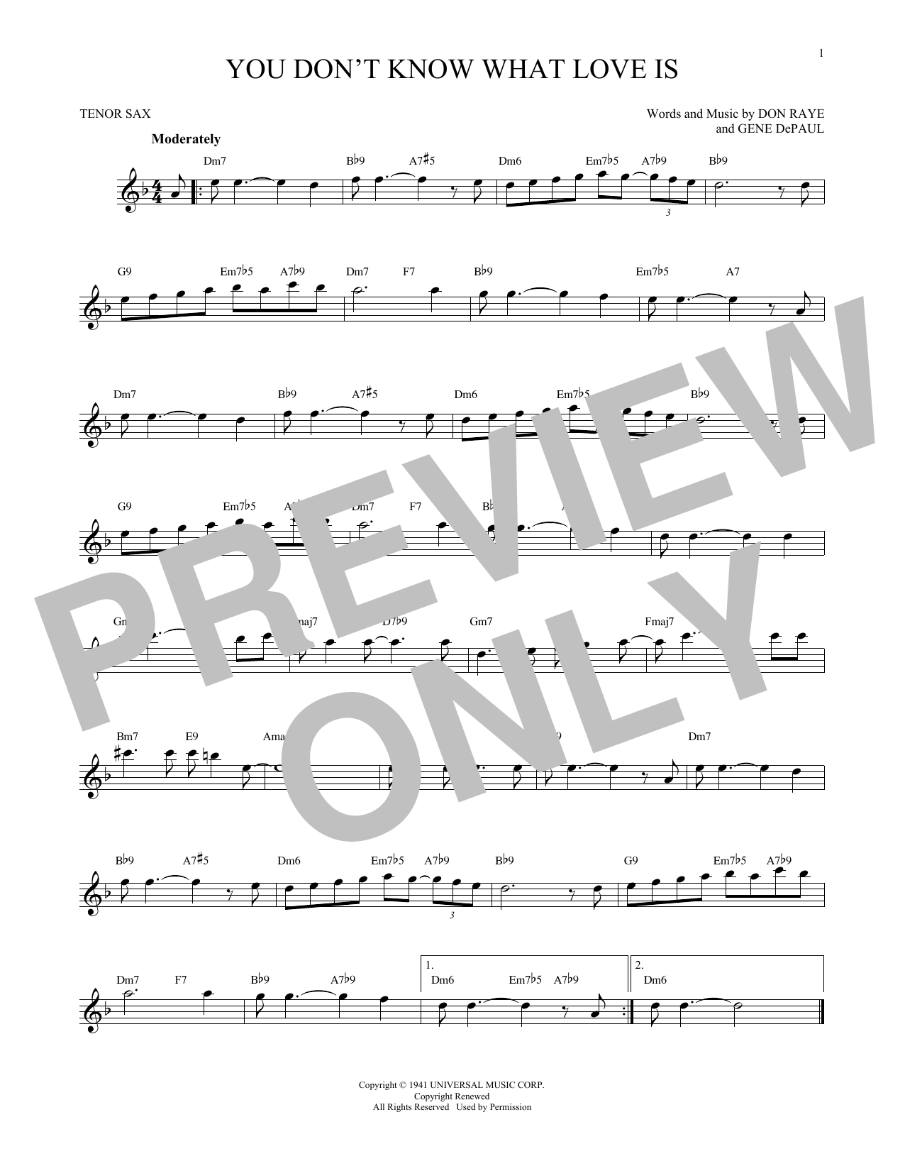 Don Raye You Don't Know What Love Is sheet music notes and chords. Download Printable PDF.
