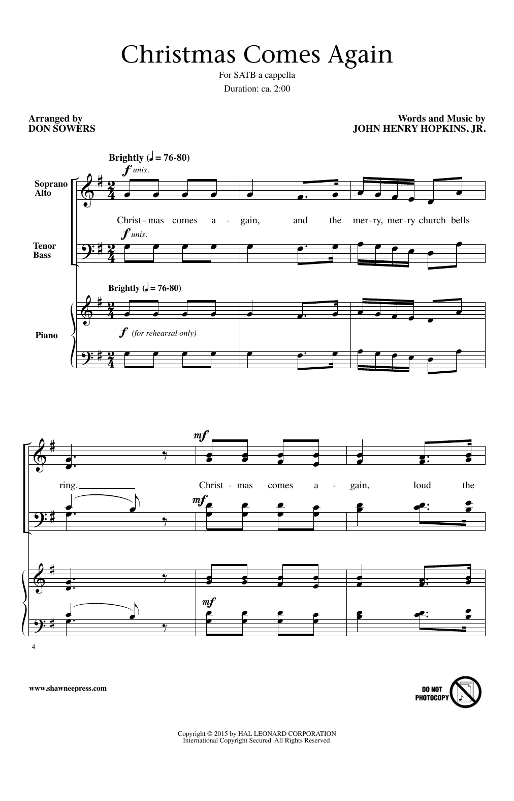 Don Sowers Christmas Comes Again sheet music notes and chords. Download Printable PDF.