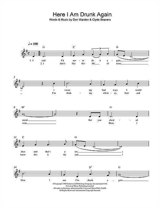 Don Warden Here I Am Drunk Again sheet music notes and chords. Download Printable PDF.
