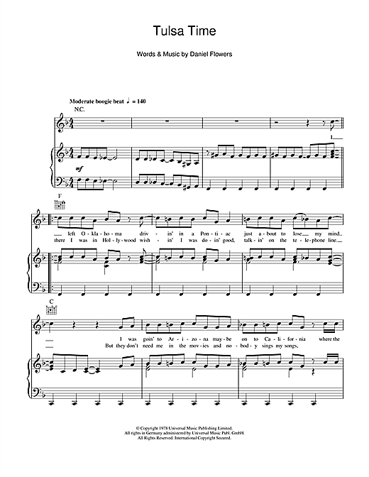 Don Williams 'Tulsa Time' Sheet Music Notes, Chords | Download Printable  Piano, Vocal & Guitar (Right-Hand Melody) - SKU: 103344