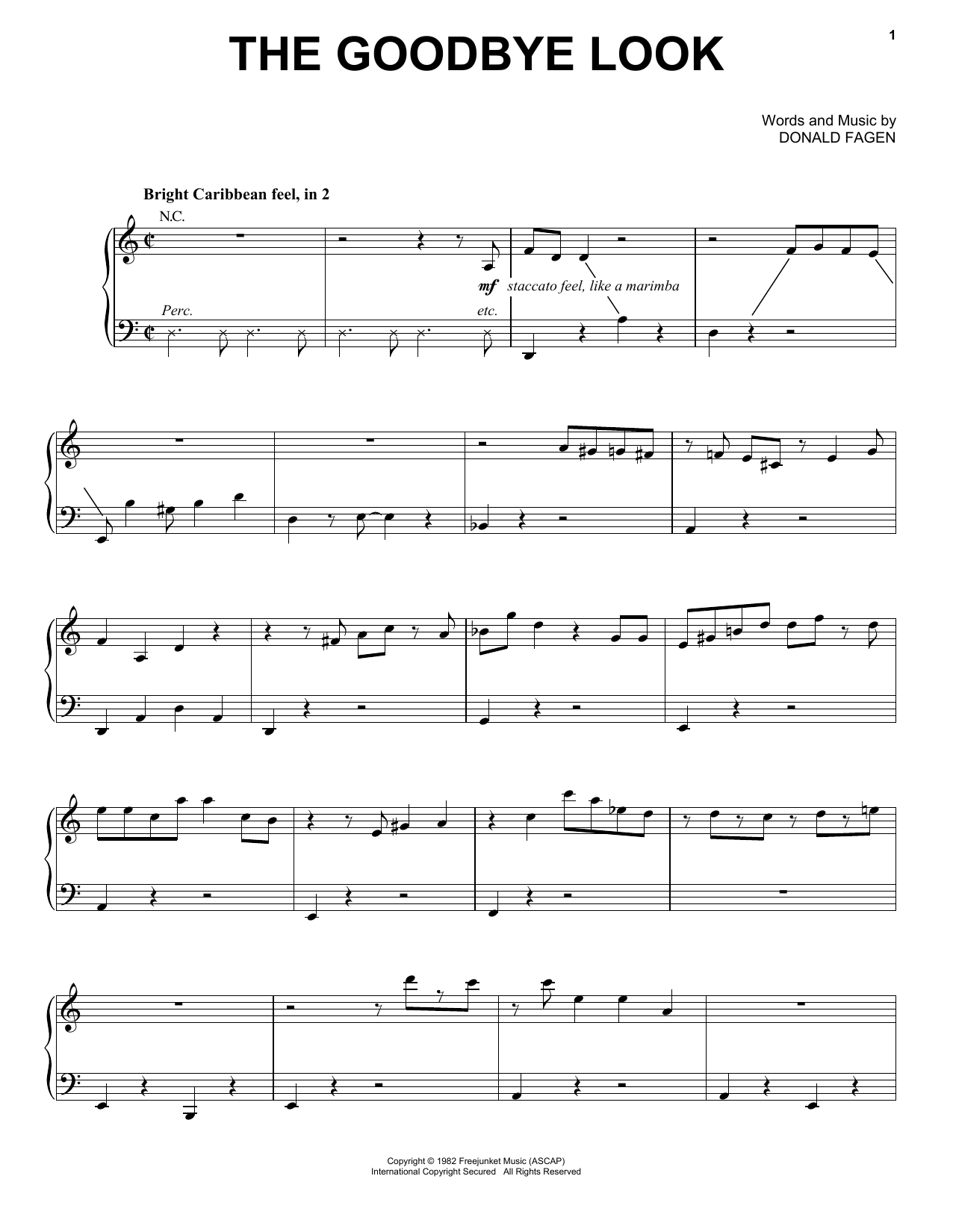 Donald Fagen The Goodbye Look sheet music notes and chords. Download Printable PDF.