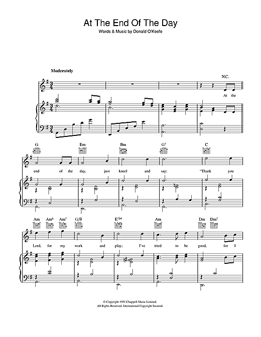 at the end of the day sheet music free