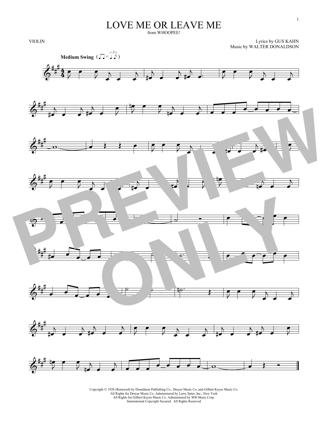 Walter Donaldson Love Me Or Leave Me sheet music notes and chords. Download Printable PDF.