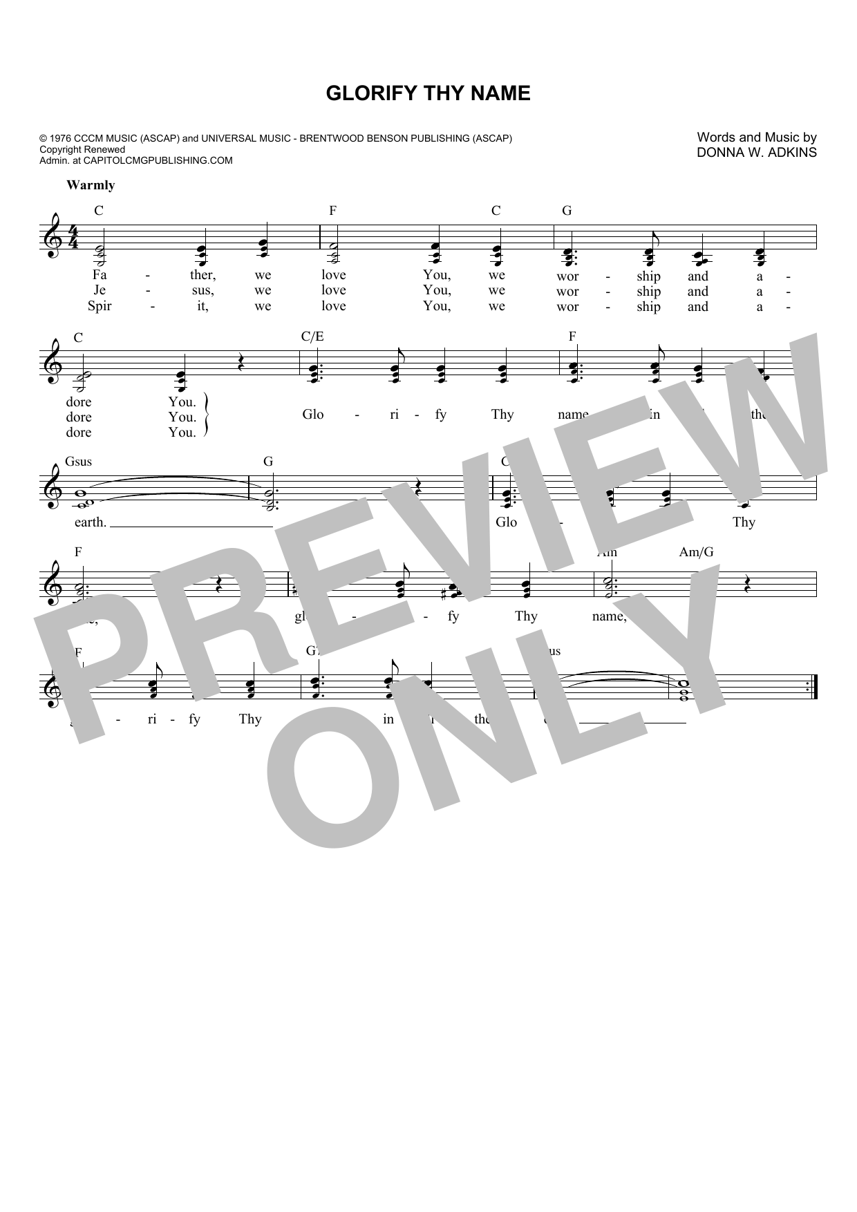 Donna Adkins Glorify Thy Name sheet music notes and chords. Download Printable PDF.