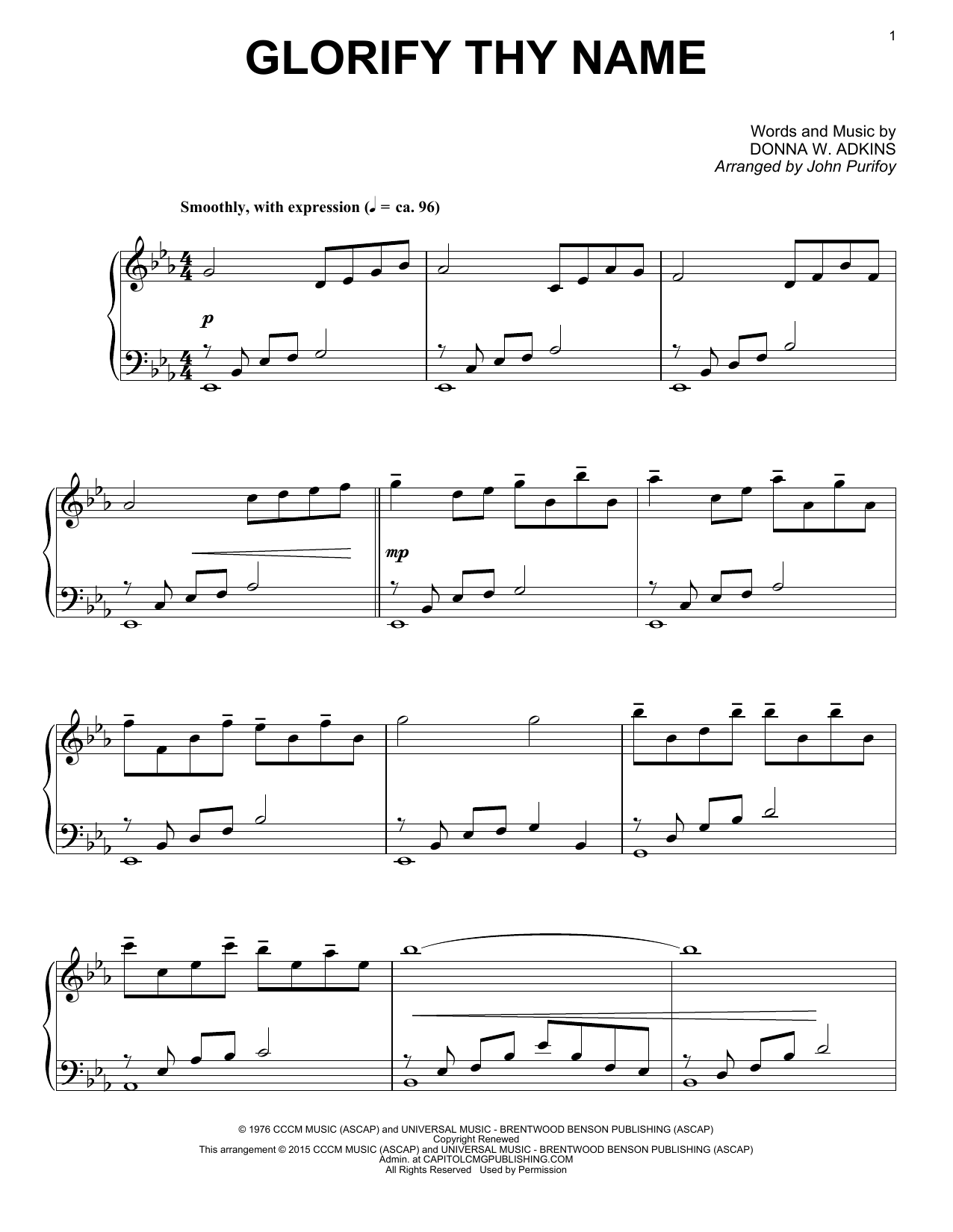John Purifoy Glorify Thy Name sheet music notes and chords