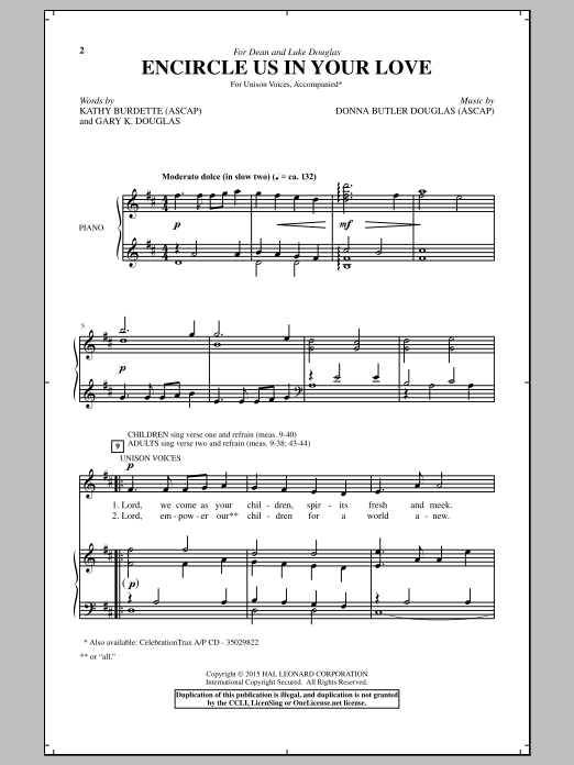 Donna Butler Douglas Encircle Us In Your Love sheet music notes and chords. Download Printable PDF.