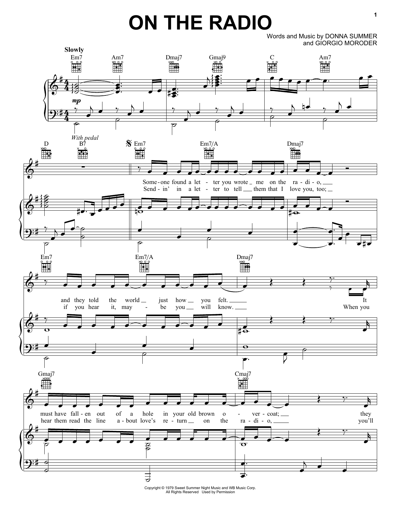 Donna Summer On The Radio sheet music notes and chords. Download Printable PDF.