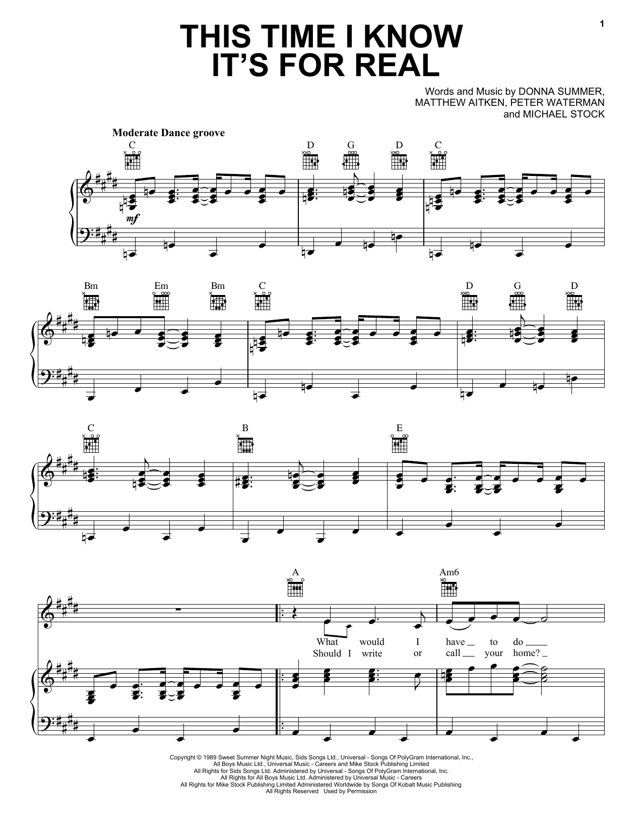 Donna Summer This Time I Know It's For Real sheet music notes and chords. Download Printable PDF.