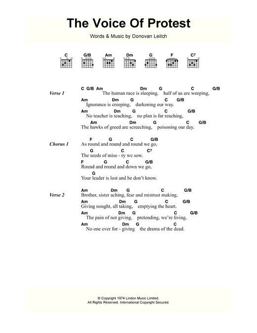 Donovan The Voice Of Protest sheet music notes and chords. Download Printable PDF.