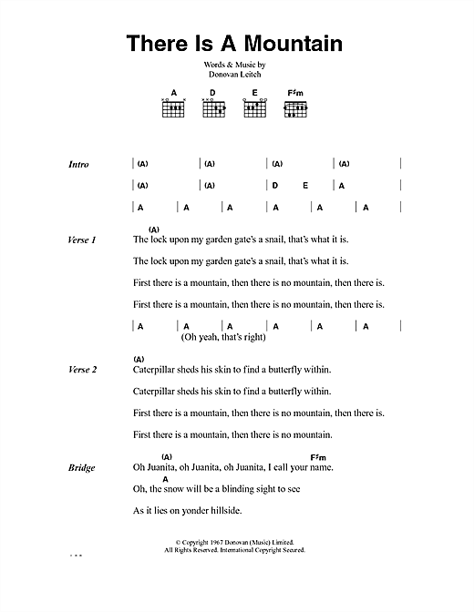Donovan There Is A Mountain sheet music notes and chords. Download Printable PDF.
