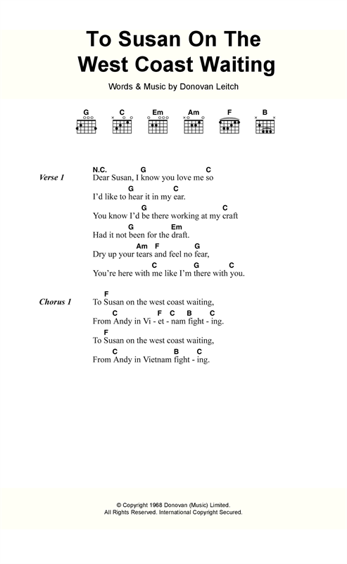 Donovan To Susan On The West Coast sheet music notes and chords. Download Printable PDF.