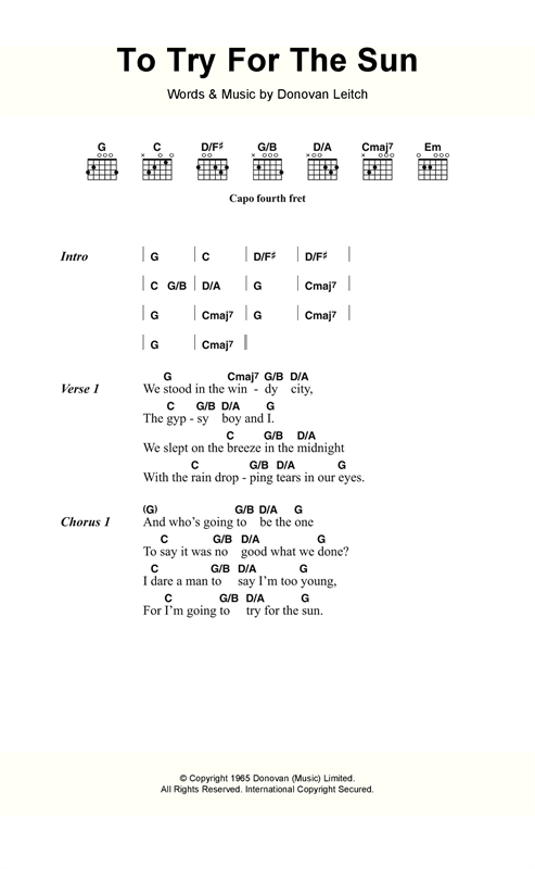 Donovan Try For The Sun sheet music notes and chords. Download Printable PDF.