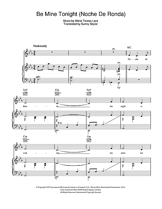 Doris Day Be Mine Tonight (Noche De Ronda) sheet music notes and chords. Download Printable PDF.