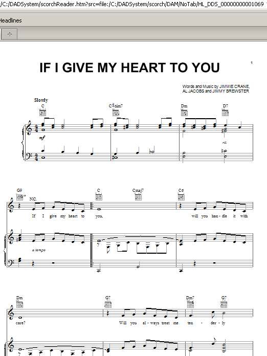 Doris Day If I Give My Heart To You sheet music notes and chords